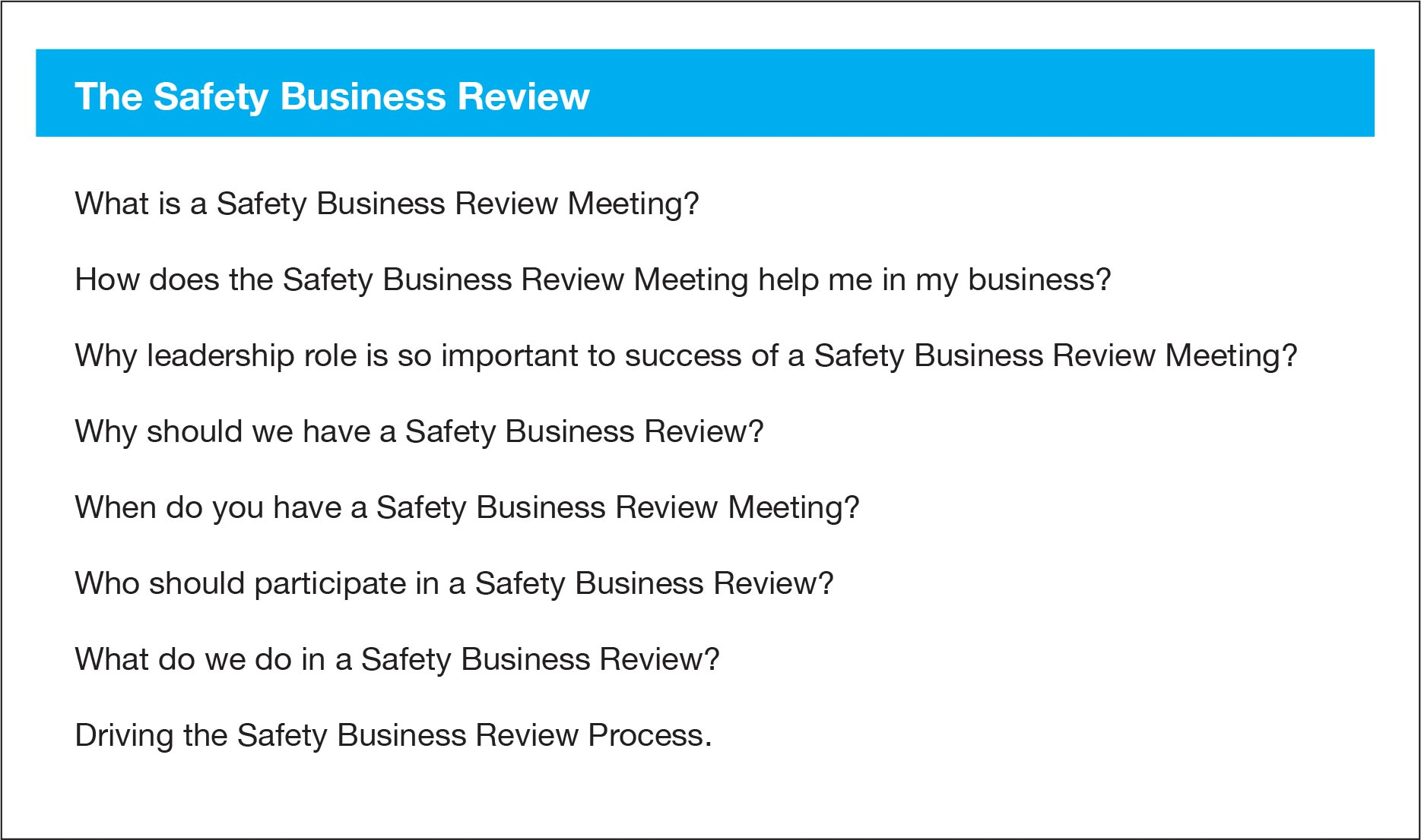 Safety-Business-Review-Questions